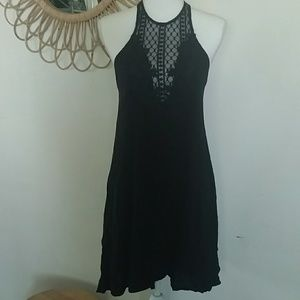 Daytrip Black Shift Dress with Lace